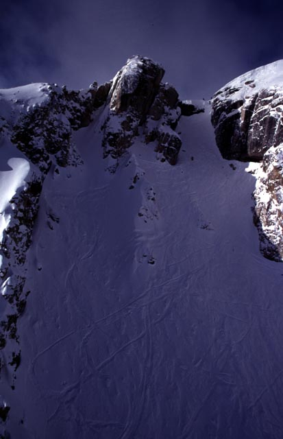 Corbet's Couloir.  Not Pictured:  Ski Patrol